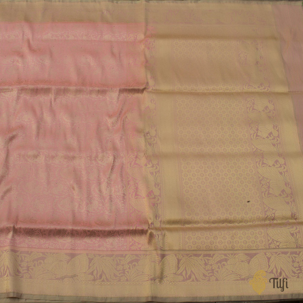 Pista Green-Peach Pure Katan Silk Banarasi Handloom Saree