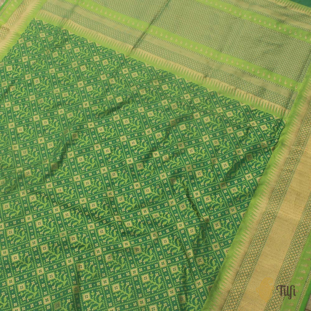 Dark Green Pure Katan Silk Banarasi Handloom Patola Saree