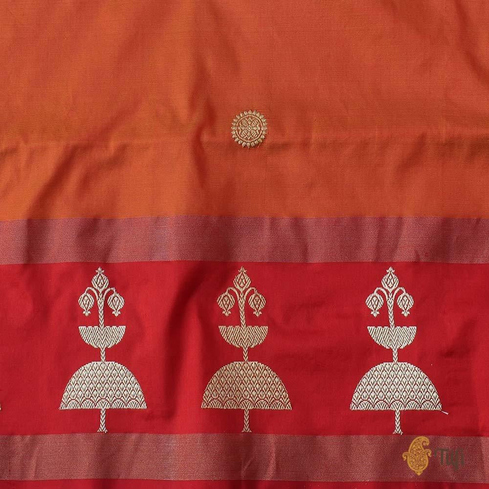 Orange Pure Katan Silk Handloom Banarasi Saree