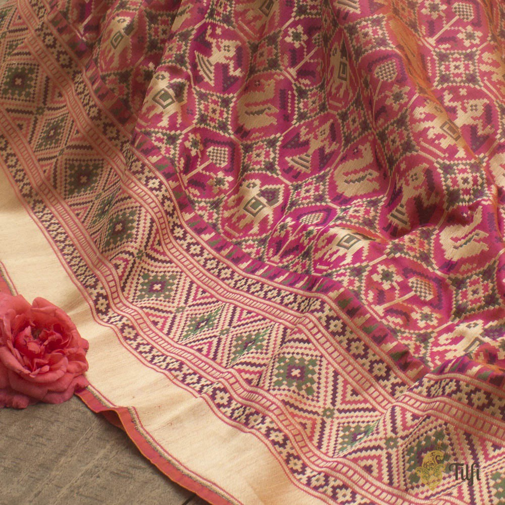 Orange-Pink Pure Katan Silk Banarasi Handloom Patola Saree