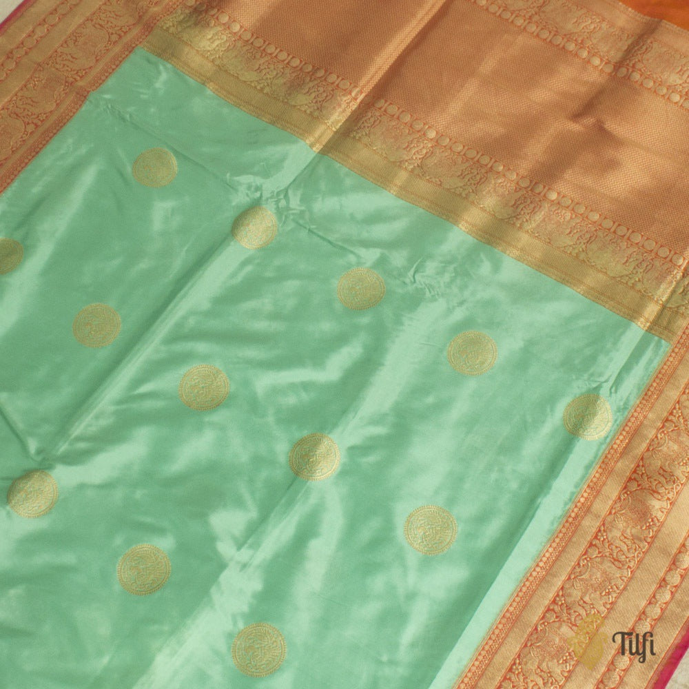Aqua Blue-Orange Pure Katan Silk Banarasi Handloom Saree