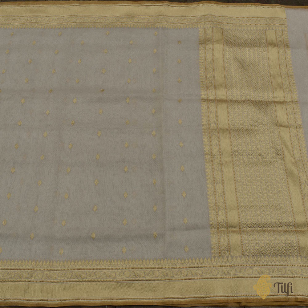 Off-White-Silver Pure Cotton Tissue Banarasi Handloom Saree