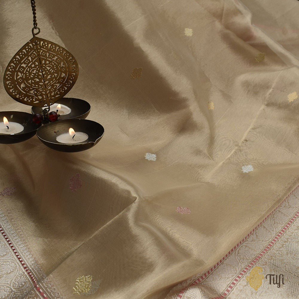 Off-White-Gold Pure Kora Tissue Silk Banarasi Handloom Saree