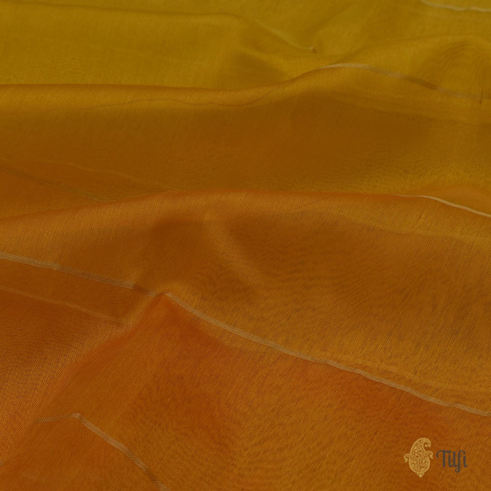 Yellow-Orange Ombré Pure Kora Silk Banarasi Handloom Saree