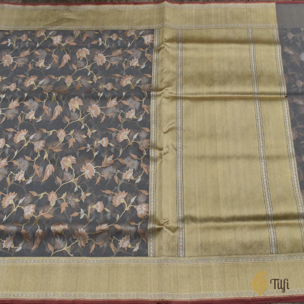 Blue-Grey Pure Kora Silk Handwoven Kadwa Banarasi Saree