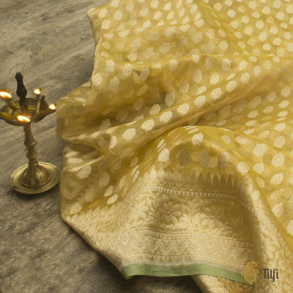 Yellow-Gold Pure Kora Tissue Banarasi Handloom Saree