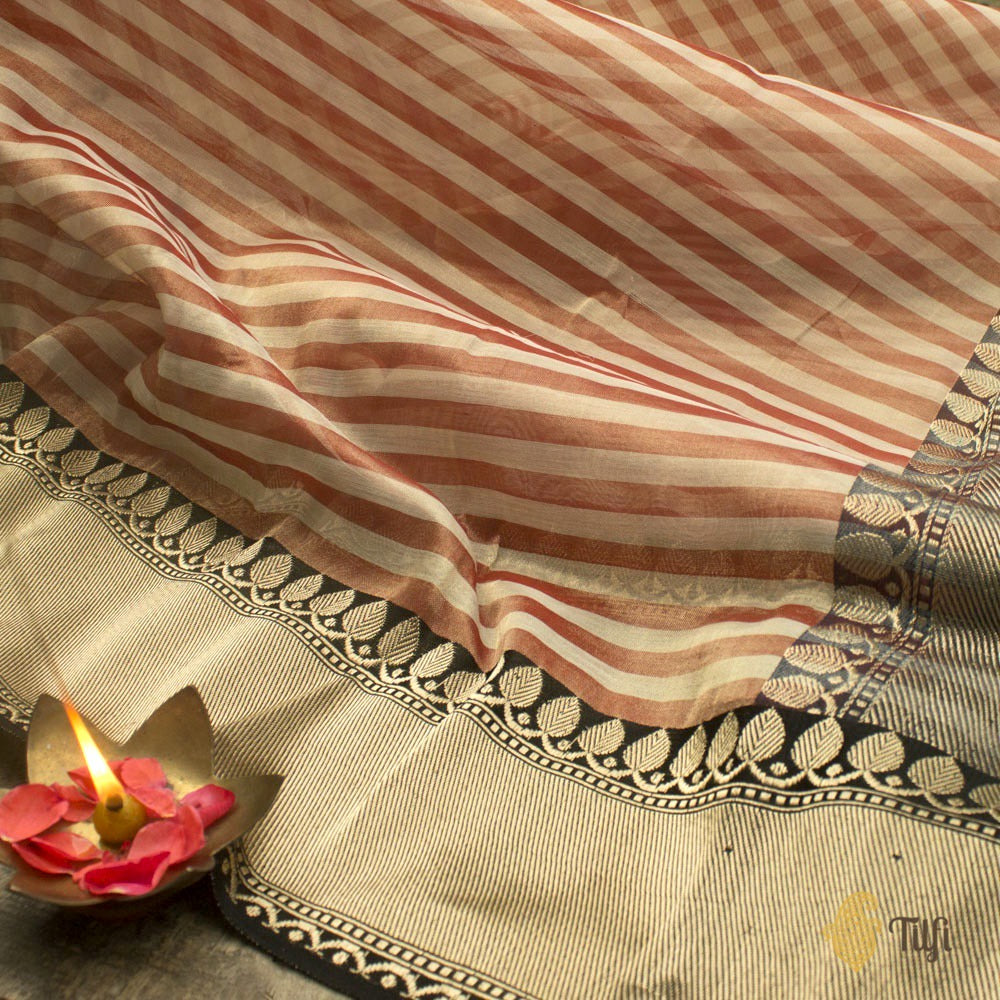 Off White-Red Pure Cotton Tissue Banarasi Handloom Saree
