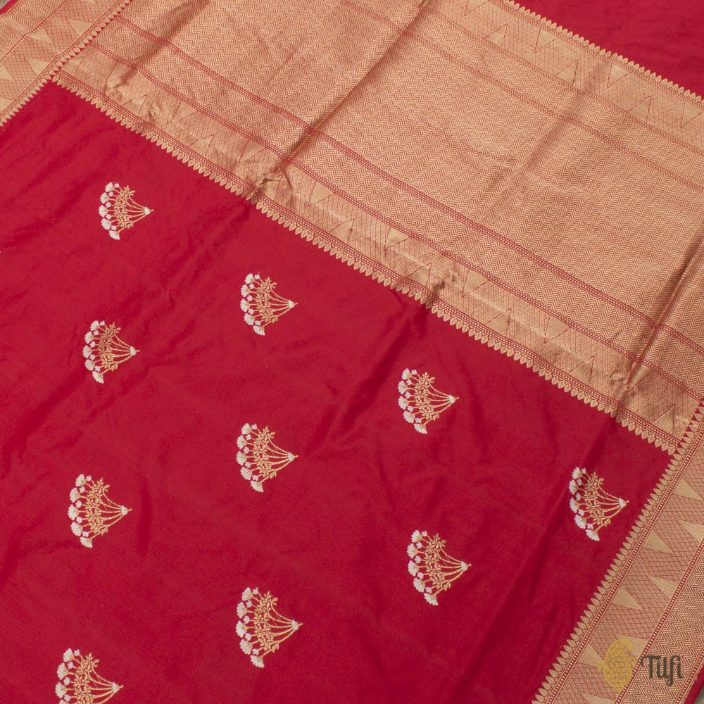 Red Pure Katan Silk Handloom Banarasi Saree