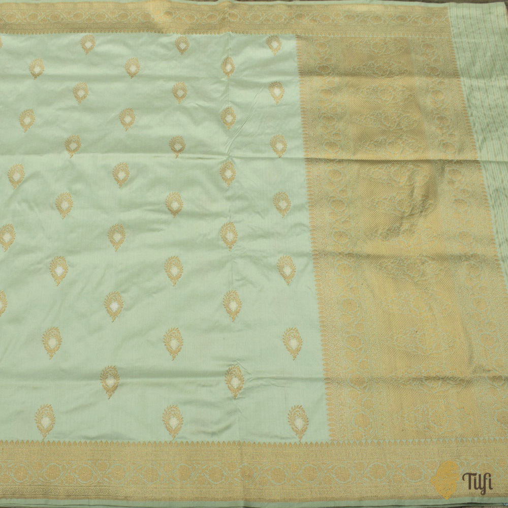 Mint Green Pure Katan Silk Banarasi Handloom Saree