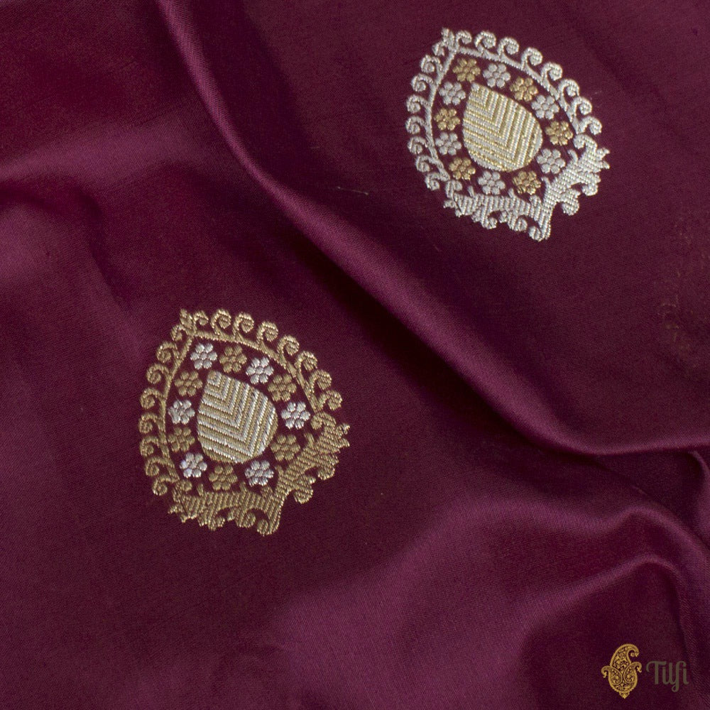 Burgundy Pure Katan Silk Handloom Banarasi Saree