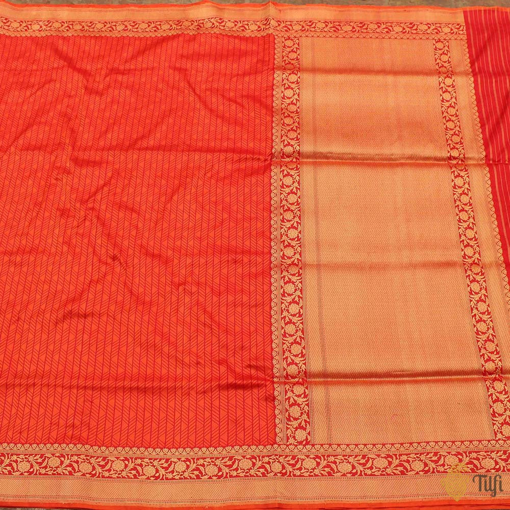 Dark Orange-Red Pure Katan Silk Banarasi Handloom Saree
