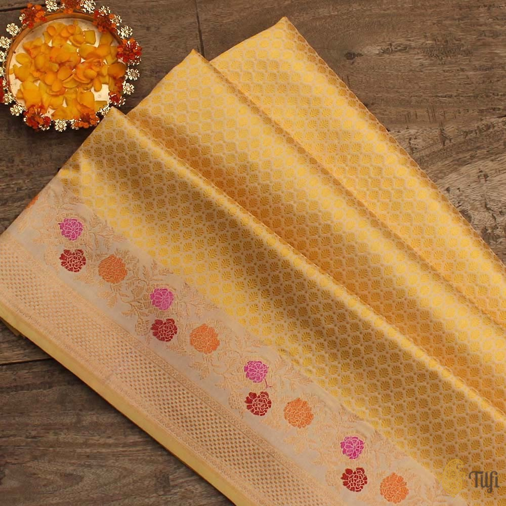Yellow-Off-White Pure Katan Silk Banarasi Handloom Saree