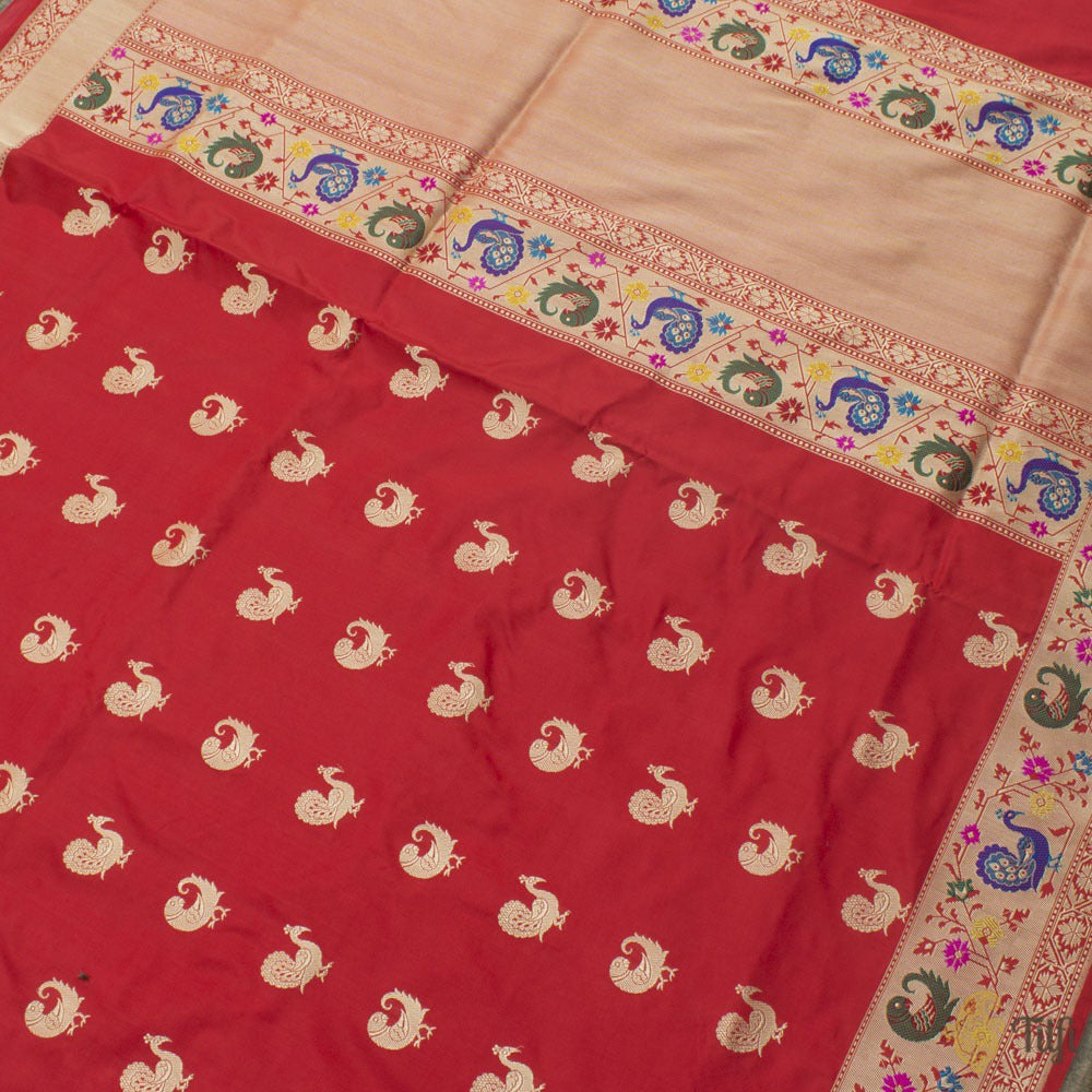 Red Pure Katan Silk Banarasi Paithani Handloom Saree