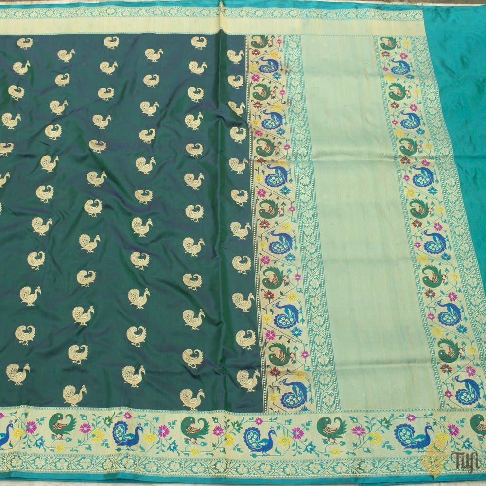Navy Blue-Green Pure Katan Silk Banarasi Paithani Handloom Saree