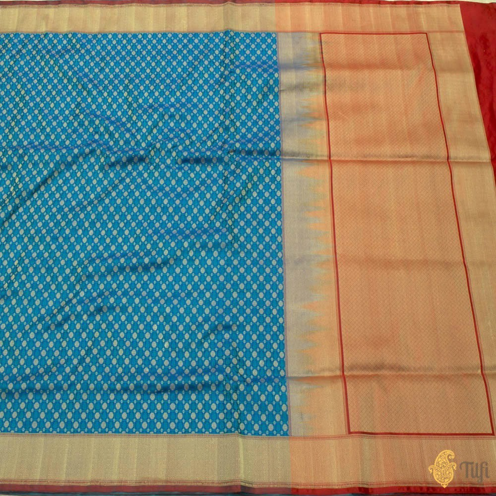Royal Blue Pure Soft Satin Silk Banarasi Handloom Saree