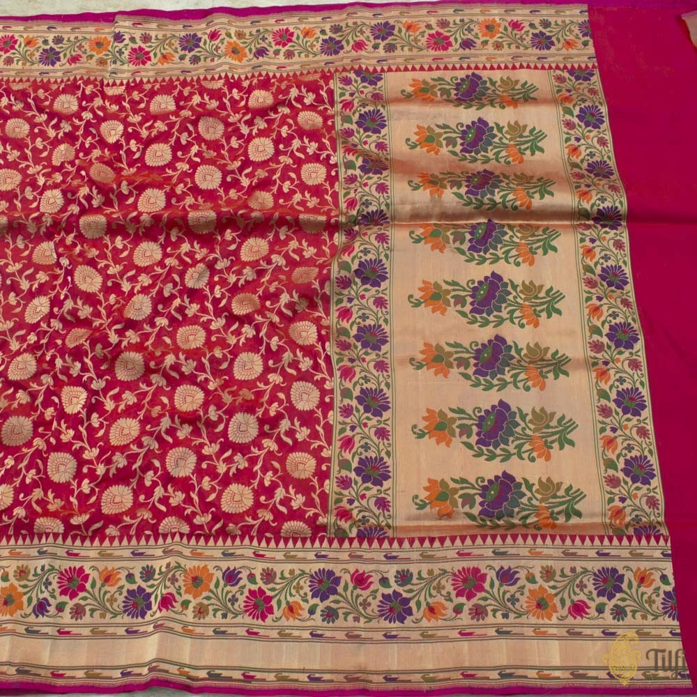 Orange-Rani Pink Pure Silk Georgette Banarasi Handloom Saree