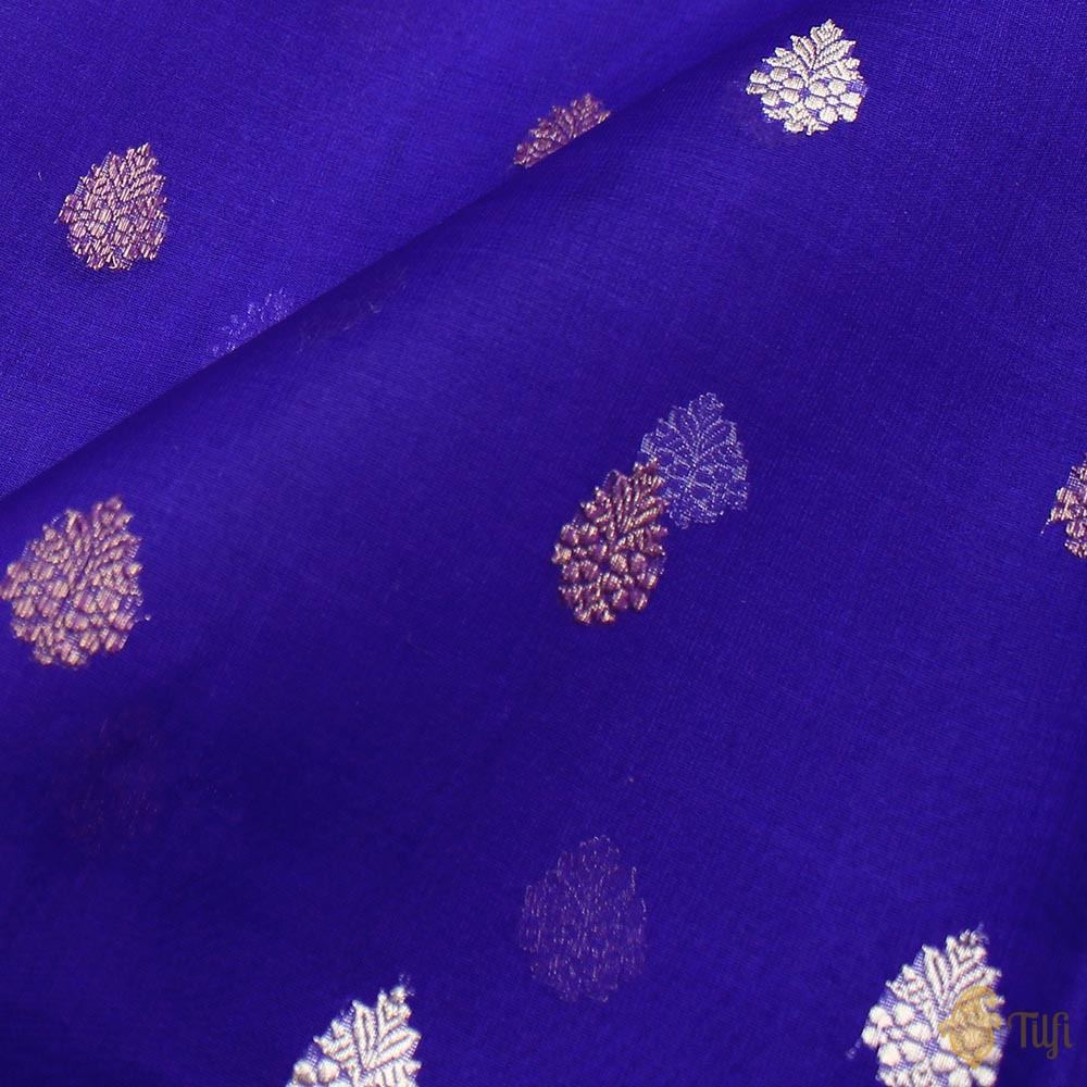 Royal Blue Pure Kora Silk Handloom Banarasi Saree