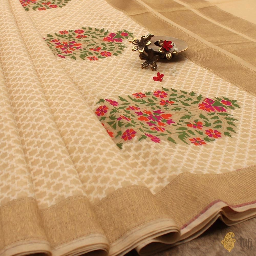 Cream Pure Cotton Handwoven Banarasi Saree
