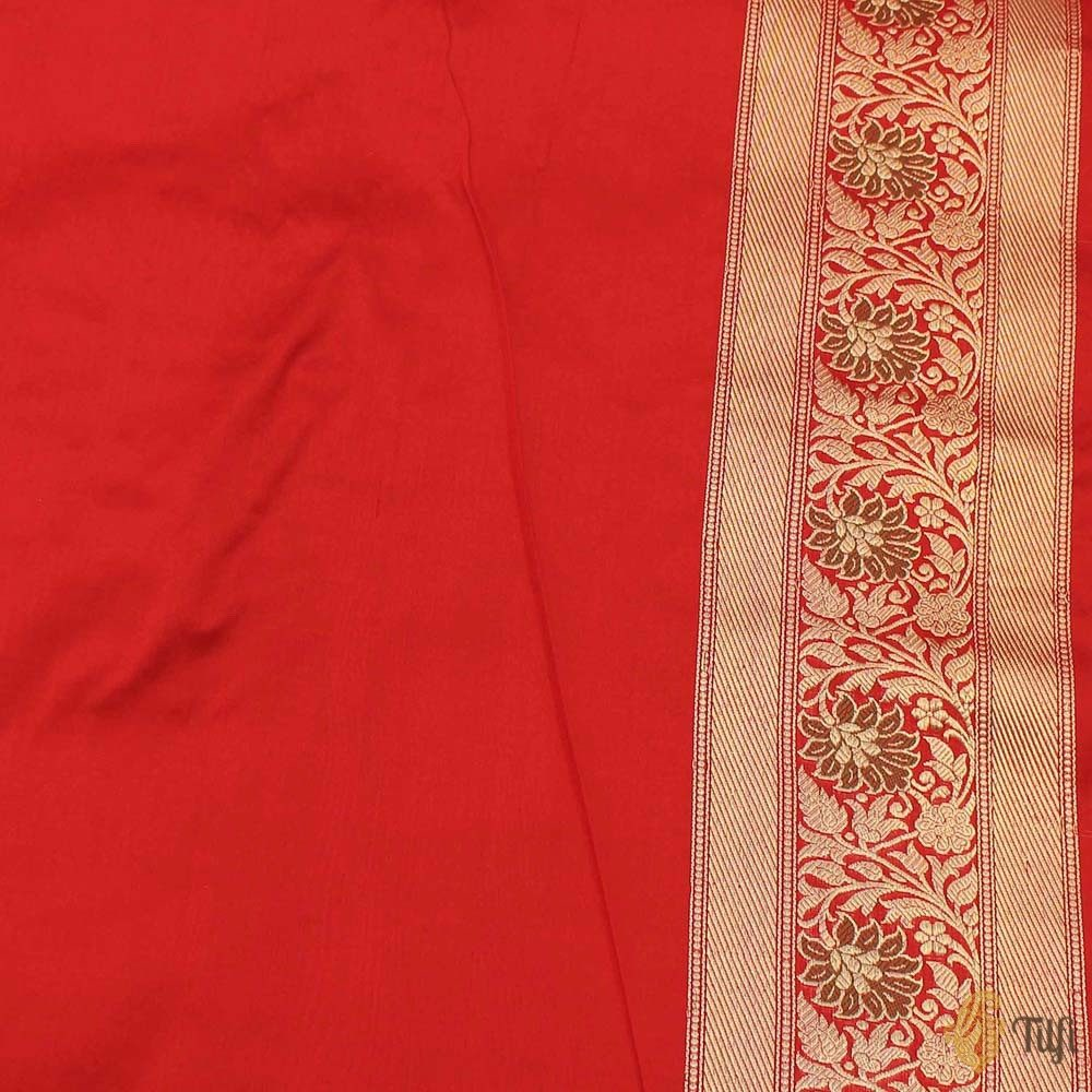 Beige-Red Pure Kora Silk Banarasi Handloom Saree