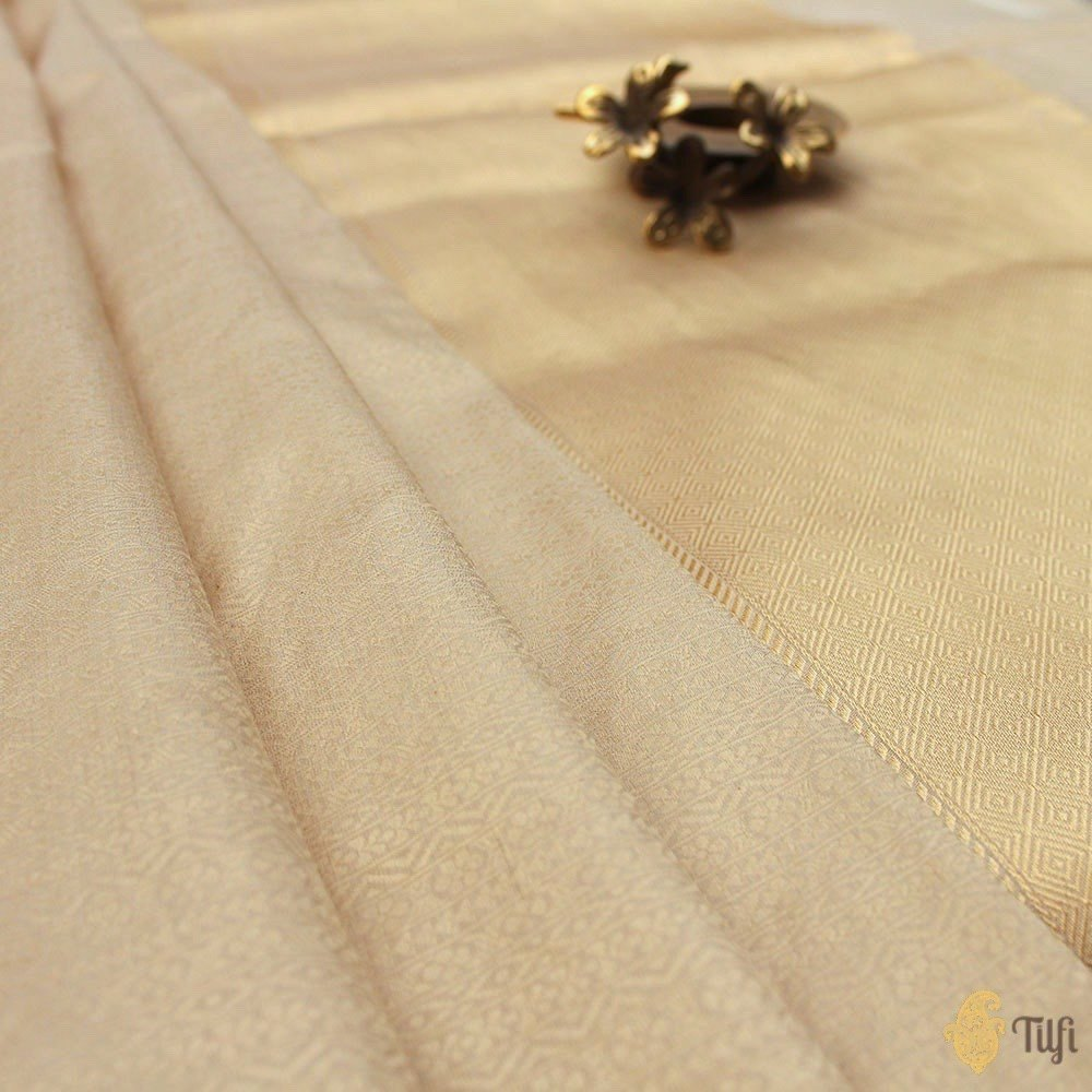 Cream Pure Katan Silk Tissue Banarasi Handloom Saree