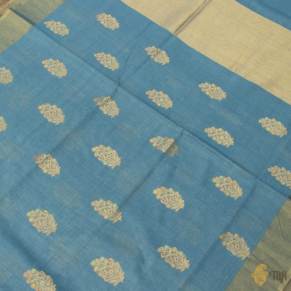 Blue Pure Kora Silk by Cotton Handloom Banarasi Saree