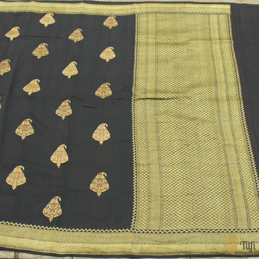 Black Pure Monga Silk Banarasi Handloom Saree