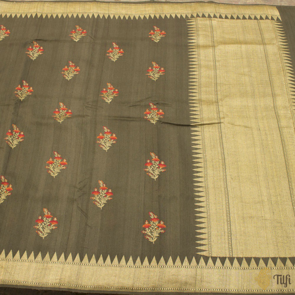 Dark Grey Green Pure Tussar Georgette Silk Banarasi Handloom Saree