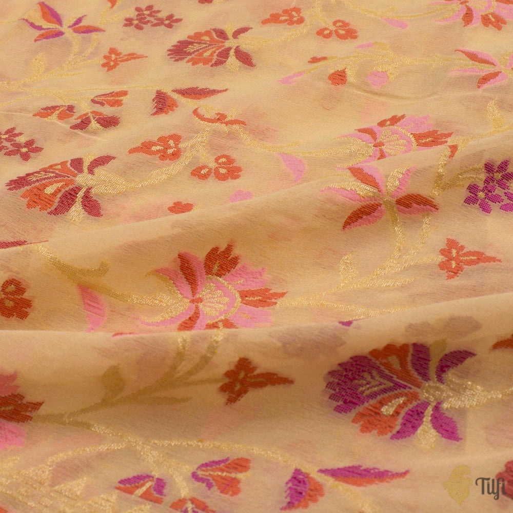 Light Yellow Pure Khaddi Georgette Banarasi Handloom Saree