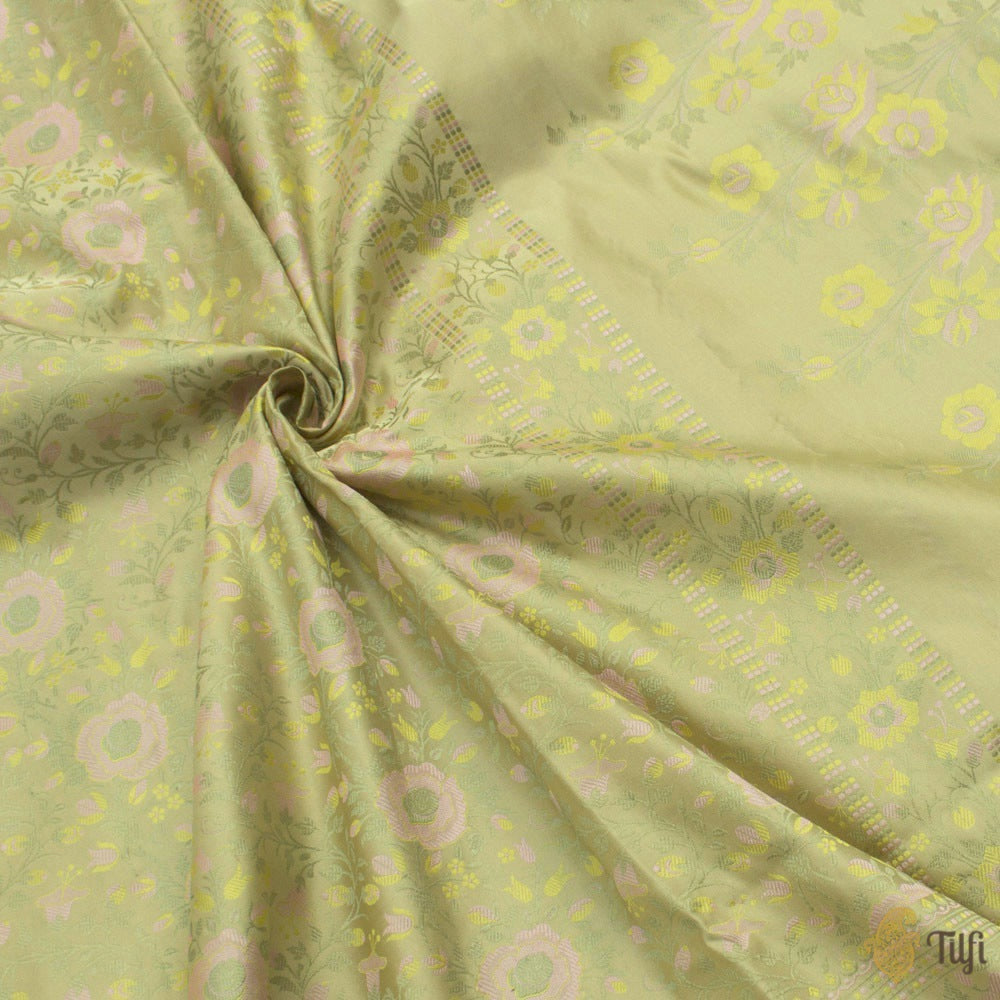 Light Pista Green Pure Soft Satin Silk Banarasi Handloom Saree