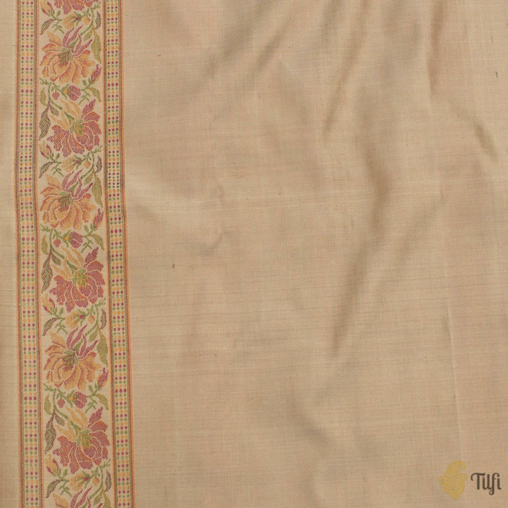 Fawn Pure Soft Satin Banarasi Handloom Saree