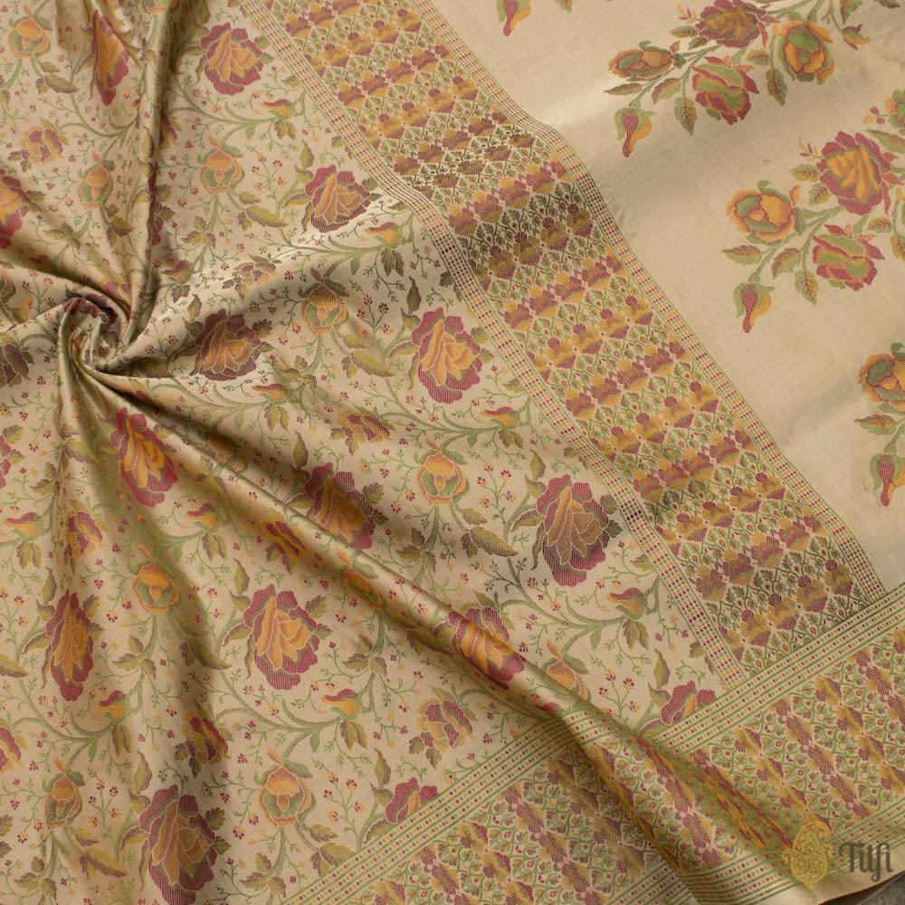 Beige Pure Soft Satin Silk Banarasi Handloom Saree