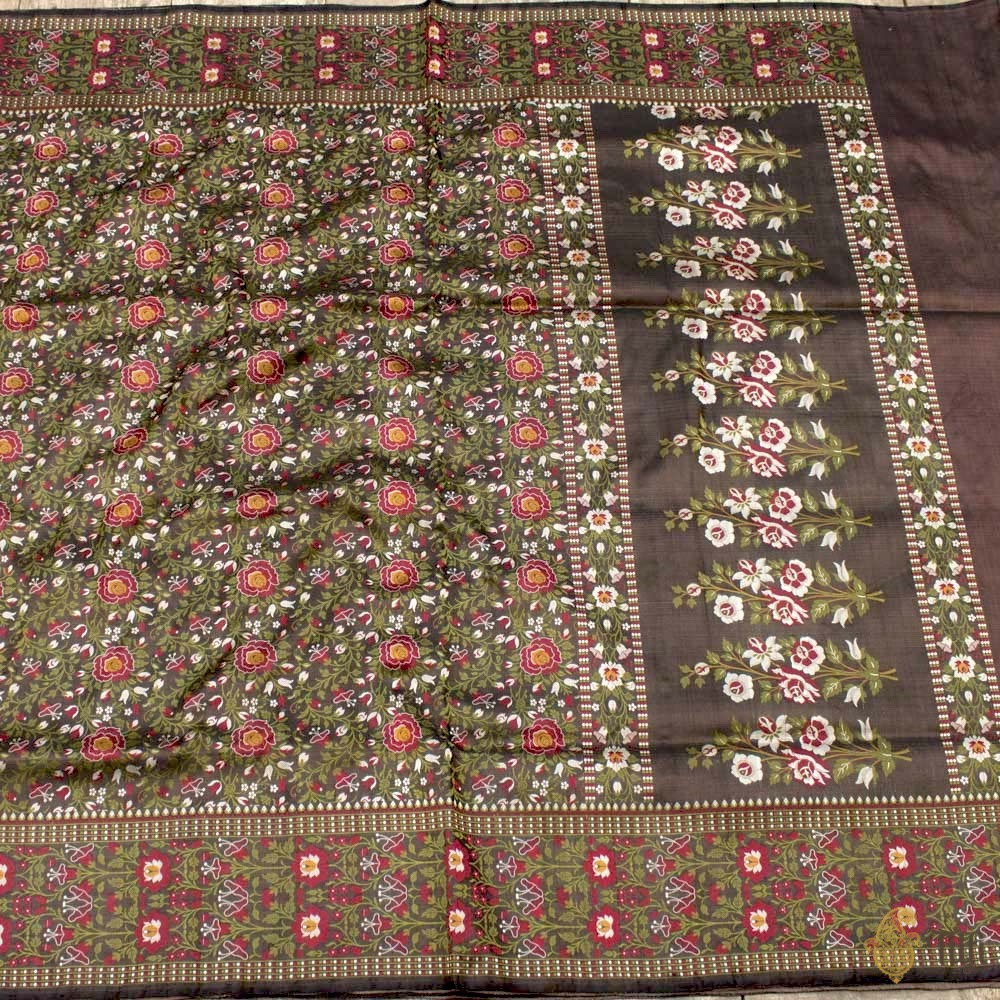 Black Pure Soft Satin Silk Banarasi Handloom Saree