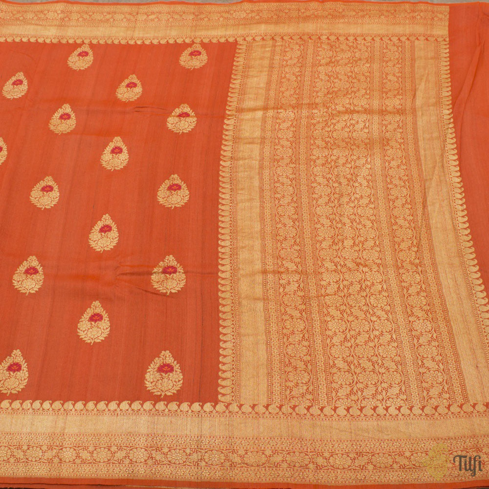 Orange Pure Tussar Georgette Silk Banarasi Handloom Saree