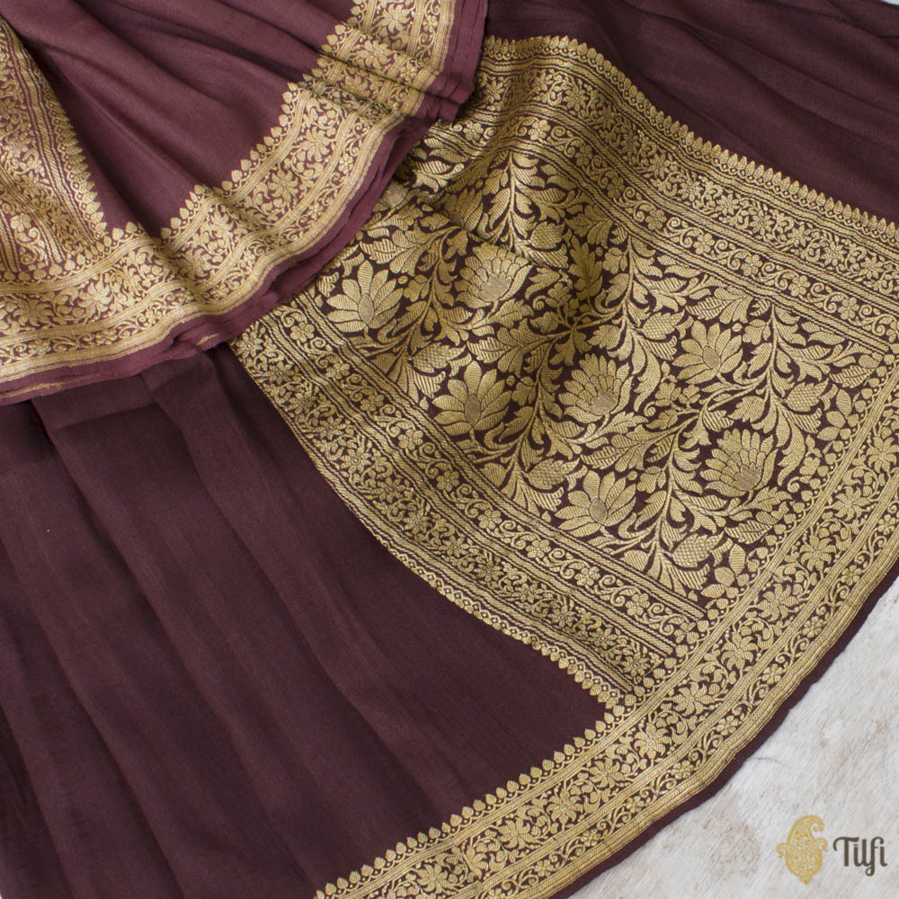 Coke Brown Ombré Pure Tussar Georgette Silk Banarasi Handloom Saree