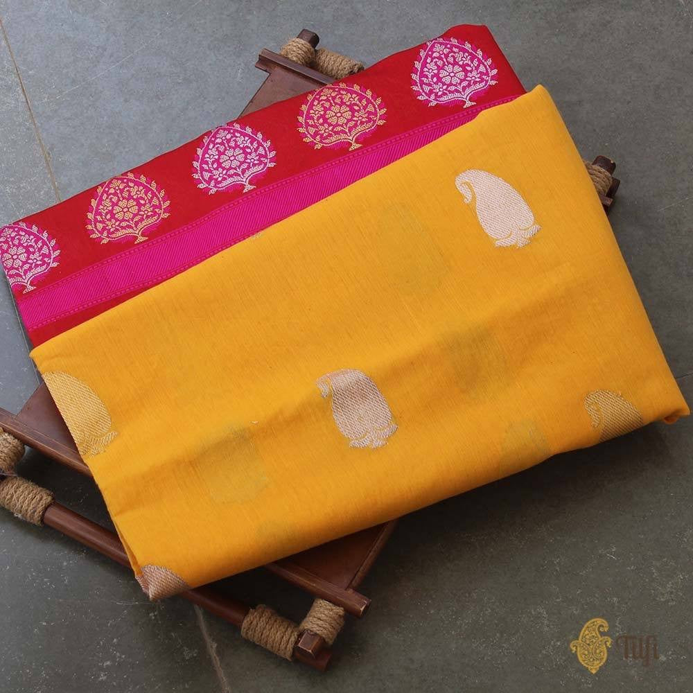 Yellow-Red Pure Cotton by Silk Banarasi Handloom Saree