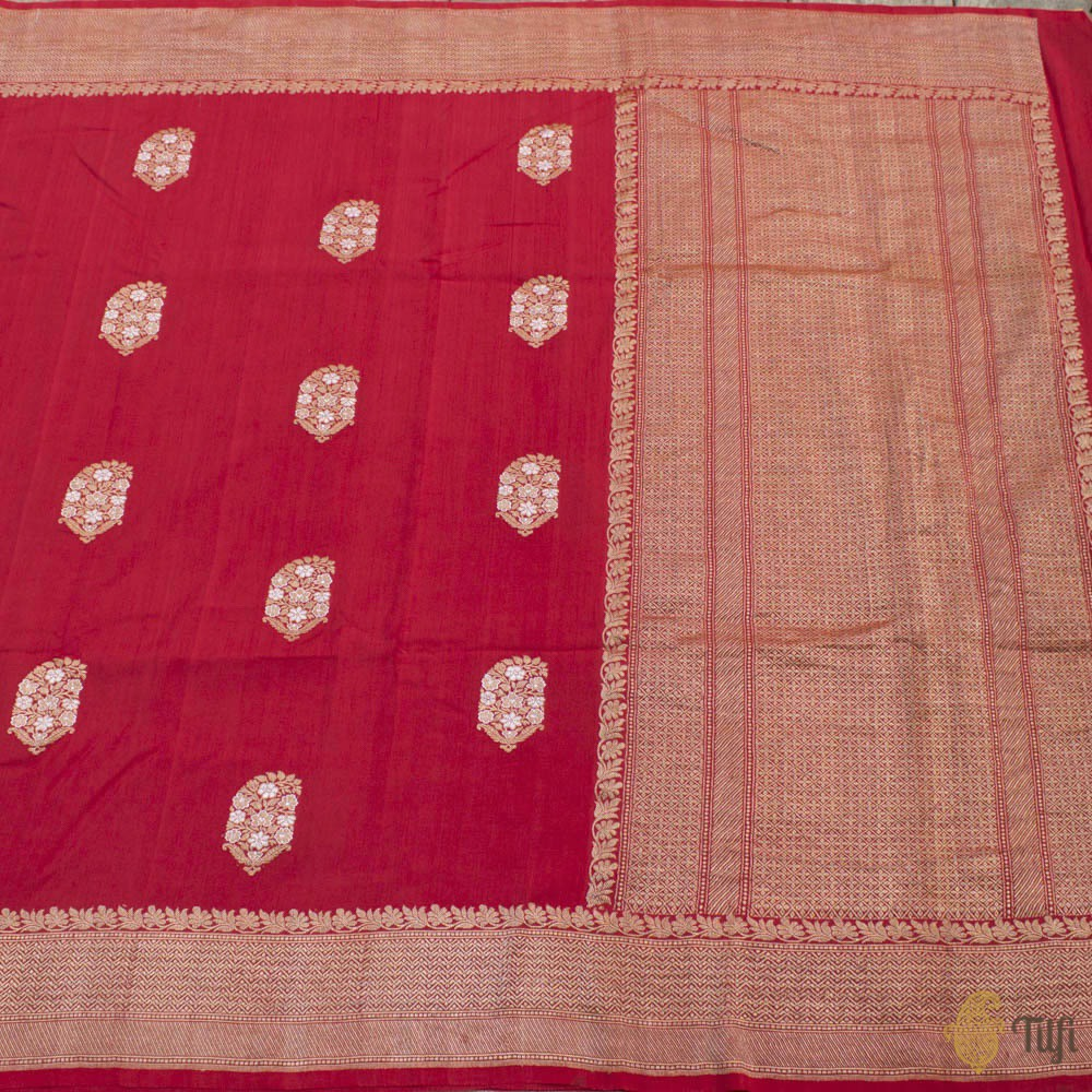 Red Pure Monga Silk Banarasi Handloom Saree