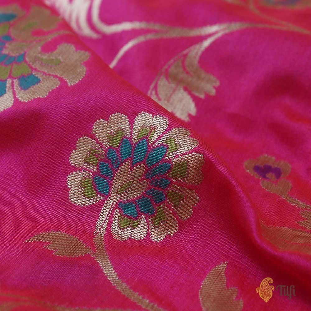 Orange-Gulabi Pink Pure Katan Silk Banarasi Handloom Saree