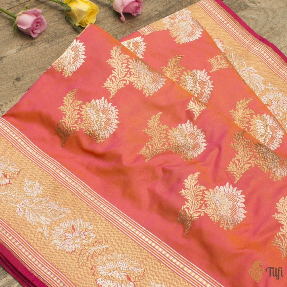 Orange-Rani Pink Pure Katan Silk Handloom Banarasi Saree
