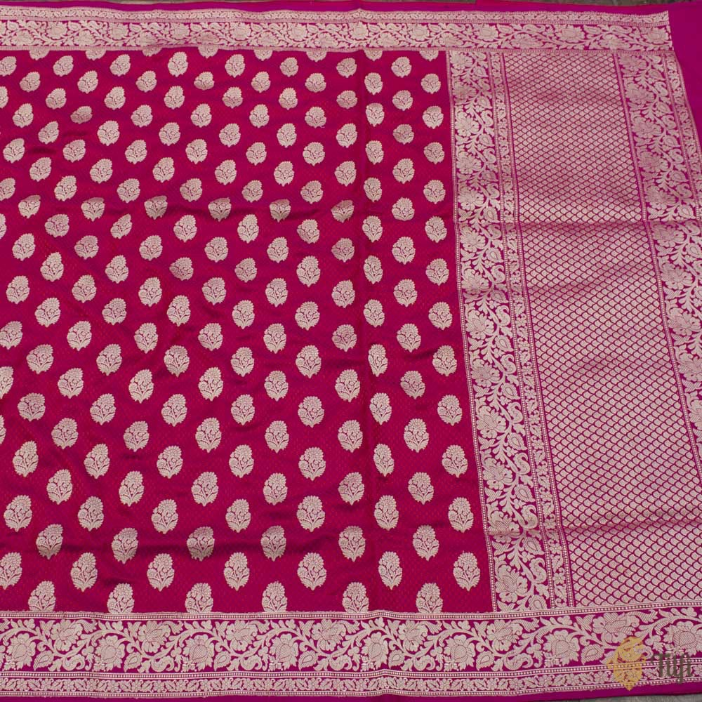 Rani Pink-Red Pure Soft Satin Silk Banarasi Handloom Saree