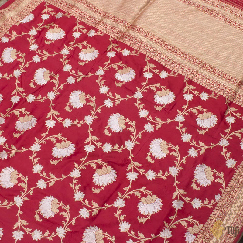 Red Pure Katan Silk Banarasi Handloom Kadwa Saree