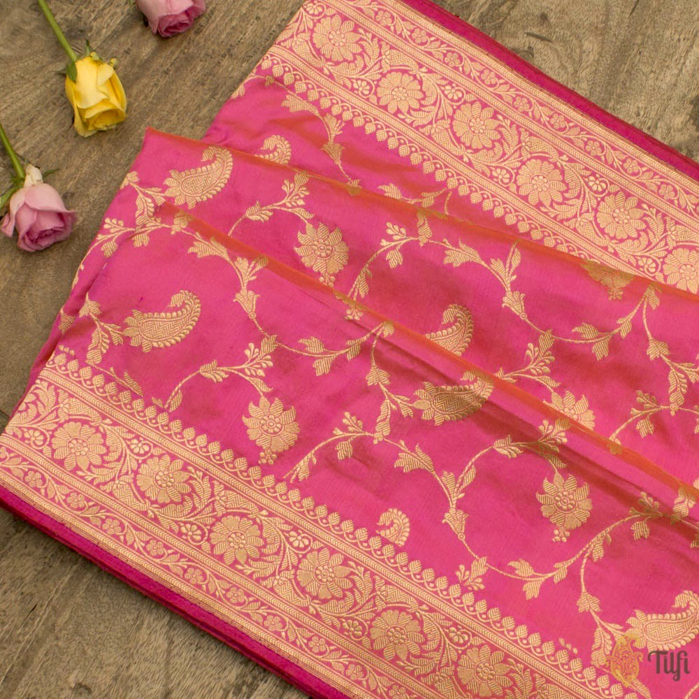 Light Orange-Pink Pure Katan Silk Banarasi Handloom Saree