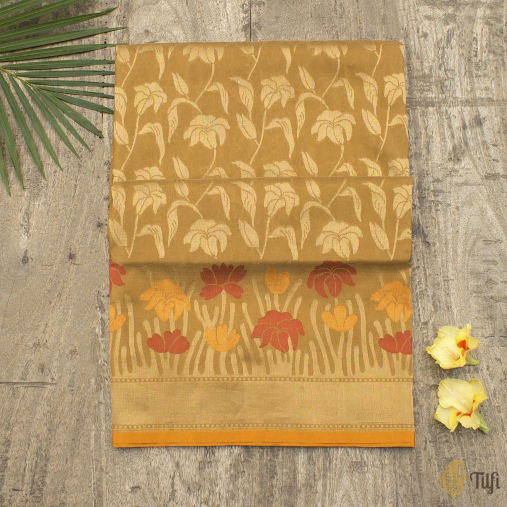 Dark Mustard Pure Silk Georgette Banarasi Handloom Saree