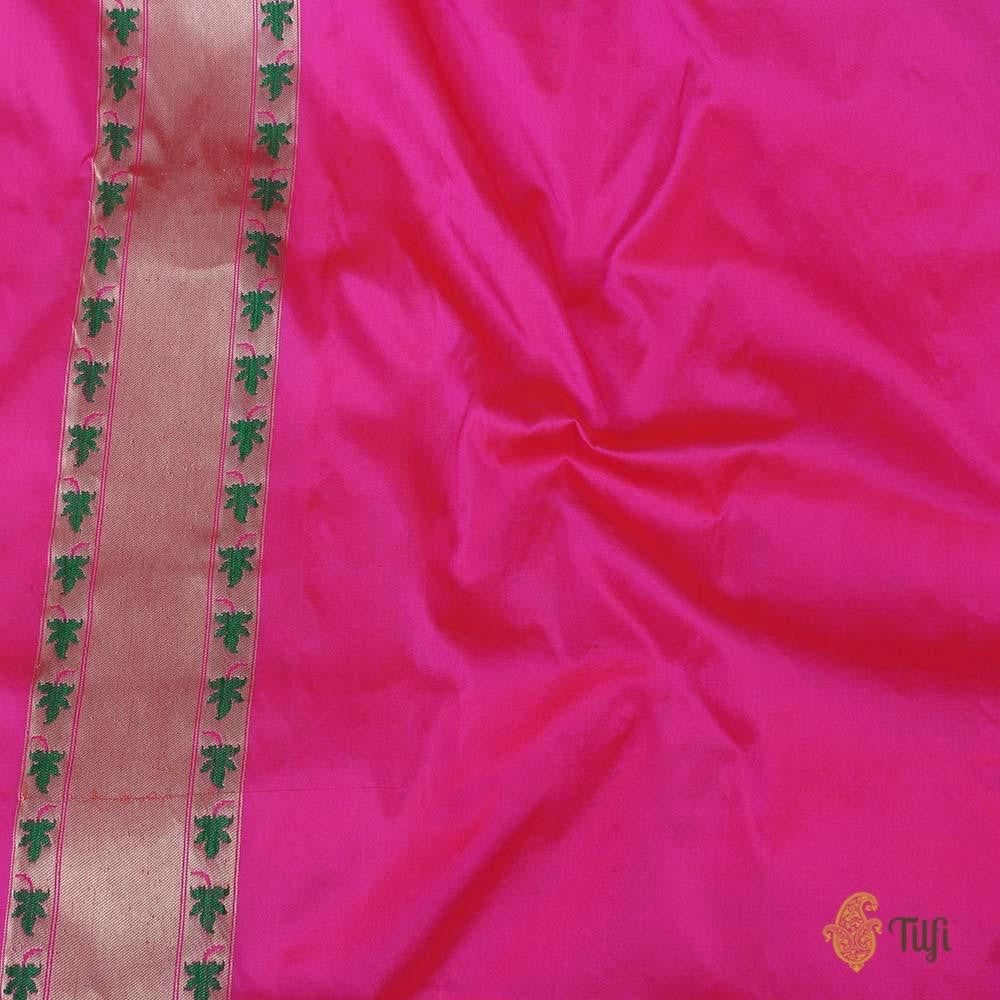 Orange-Pink Pure Katan Silk Banarasi Paithani Handloom Saree