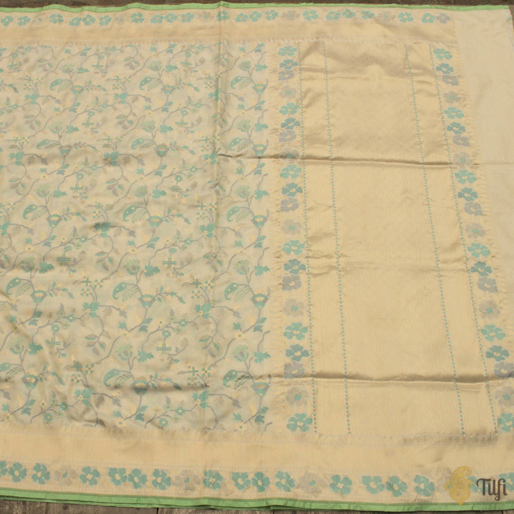 Off-White Pure Katan Silk Ektara Banarasi Handloom Saree