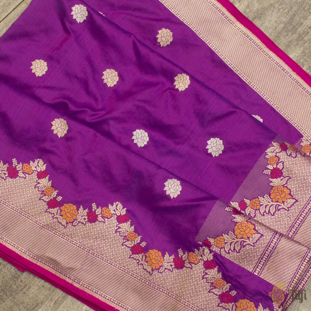 Purple-Rani Pink Pure Katan Silk Banarasi Handloom Saree
