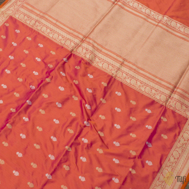 Rani Pink-Orange Pure Katan Silk Banarasi Handloom Saree