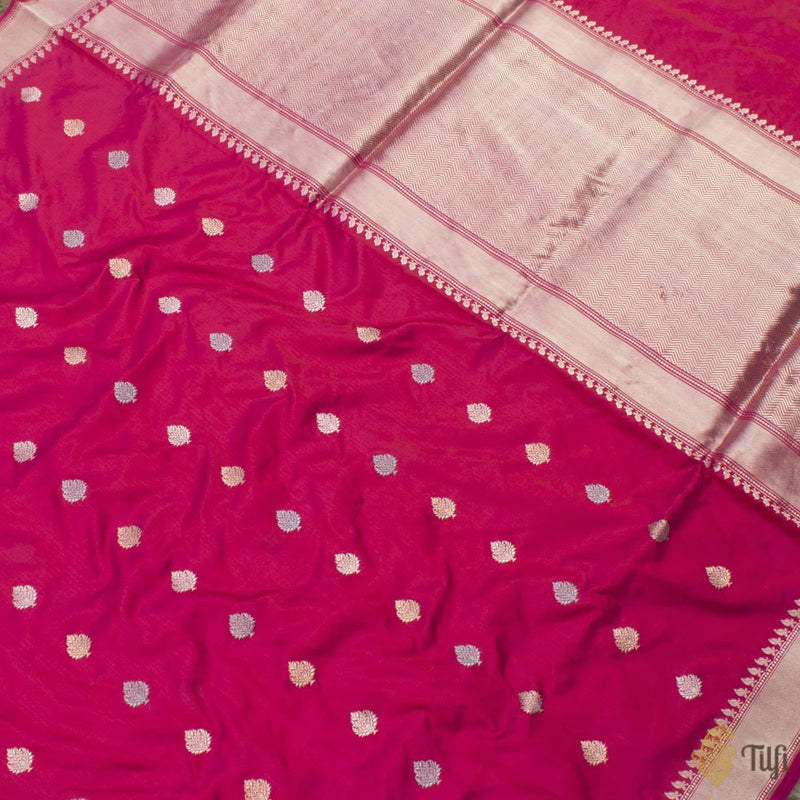 Rani Pink-Red Pure Katan Silk Banarasi Handloom Saree