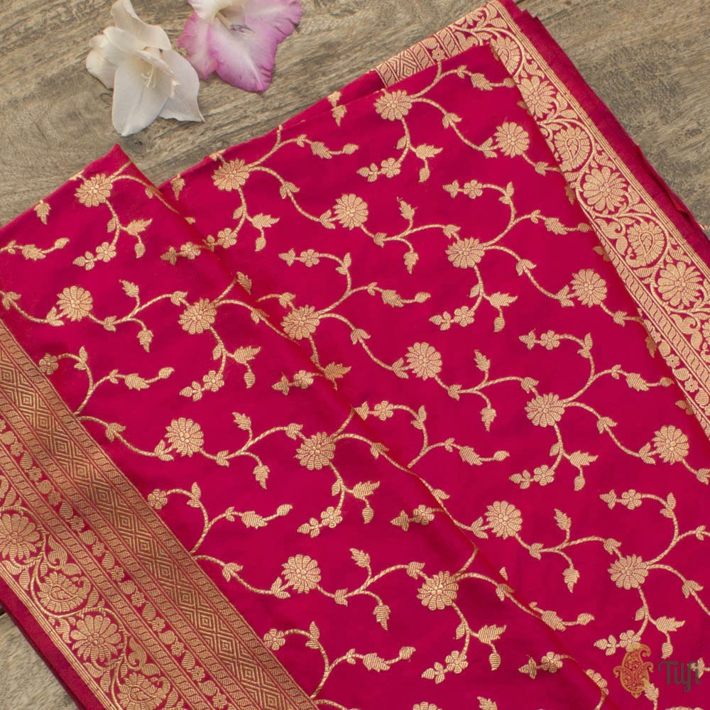Red-Dark Pink Pure Katan Silk Banarasi Handloom Saree