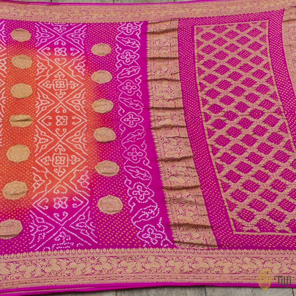 Orange-Fuchsia Pink Pure Georgette Banarasi Bandhani Handloom Saree
