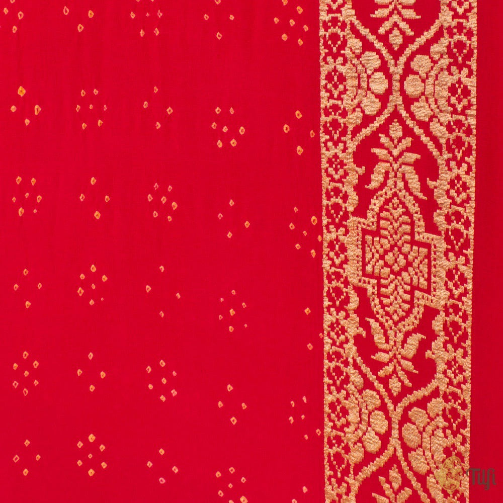 Red Pure Georgette Banarasi Bandhani Handloom Saree